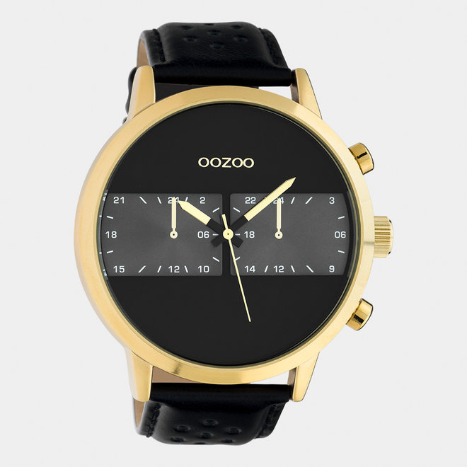 OOZOO Timepieces - heren - leren band zwart / goud