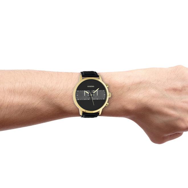 OOZOO Timepieces - heren - leren band zwart met goud horlogekast