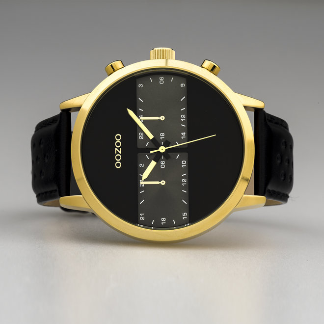 OOZOO Timepieces - gents - leather strap black with gold watch case