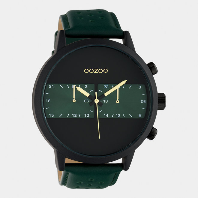 OOZOO Timepieces - gents - leather strap green / black