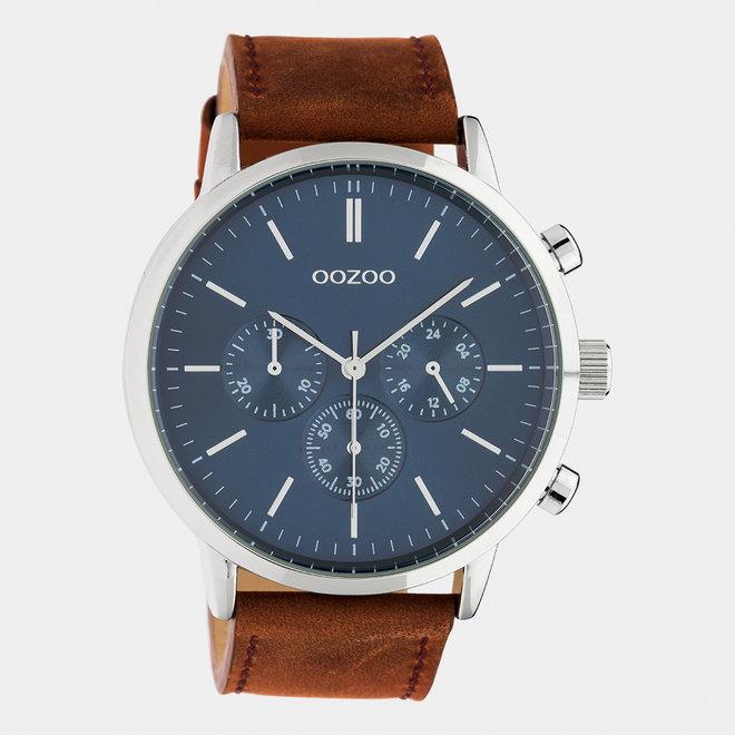OOZOO Timepieces - heren  - leren band cognac / zilver