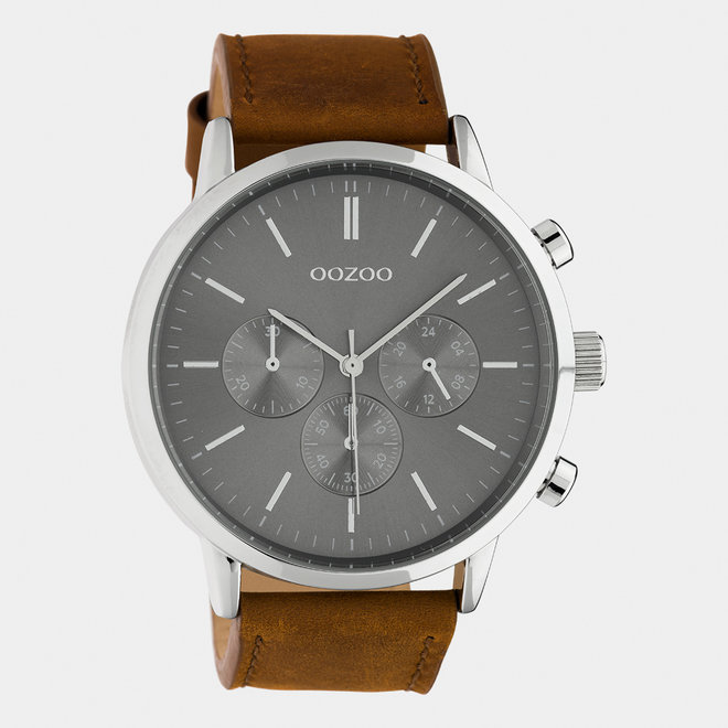 OOZOO Timepieces - gents  - leather strap brow / silver