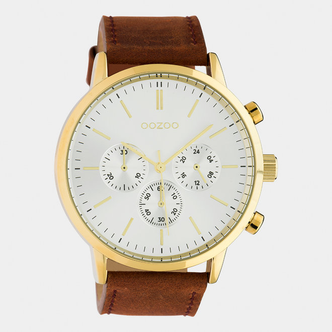 OOZOO Timepieces - heren  - leren band cognac / goud