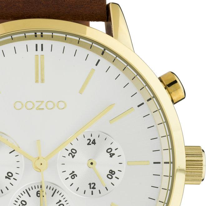 OOZOO Timepieces - hommes - bracelet en cuir cognac met or horlogekast