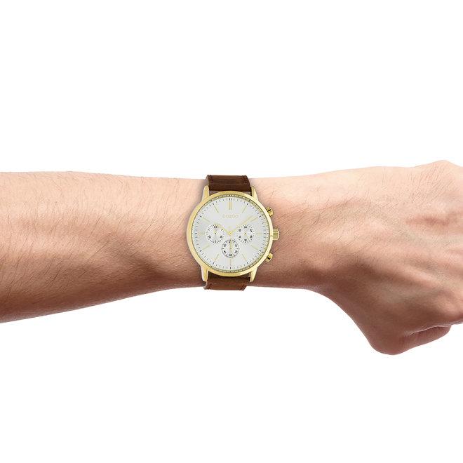 OOZOO Timepieces - heren  - leren band cognac met goud horlogekast