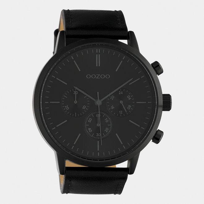 OOZOO Timepieces - hommes - bracelet en cuir noir / noir