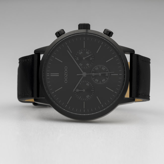 OOZOO Timepieces - gents  - leather strap black with black watch case