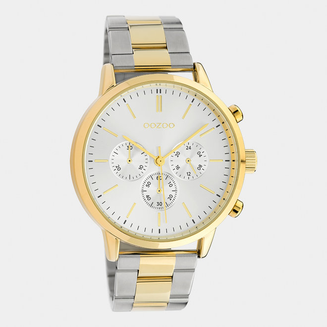 OOZOO Timepieces - unisex - stainless steel armband zilver-goud / goud