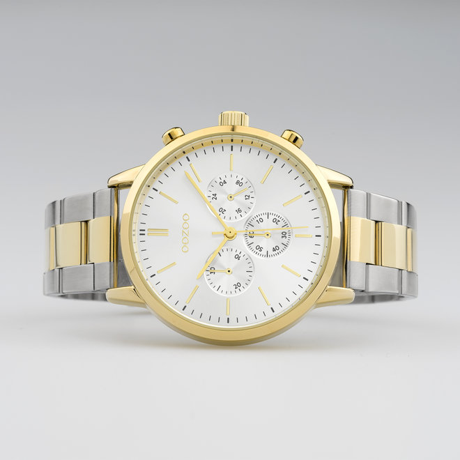 OOZOO Timepieces - unisex - stainless steel bracelet silver-gold with gold watch case
