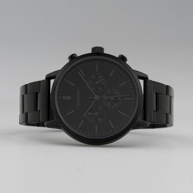 OOZOO Timepieces - unisex - stainless steel armband zwart met zwart horlogekast