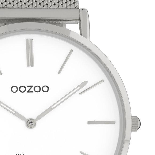 Vintage series - unisex - mesh band zilver  met zilver  horlogekast