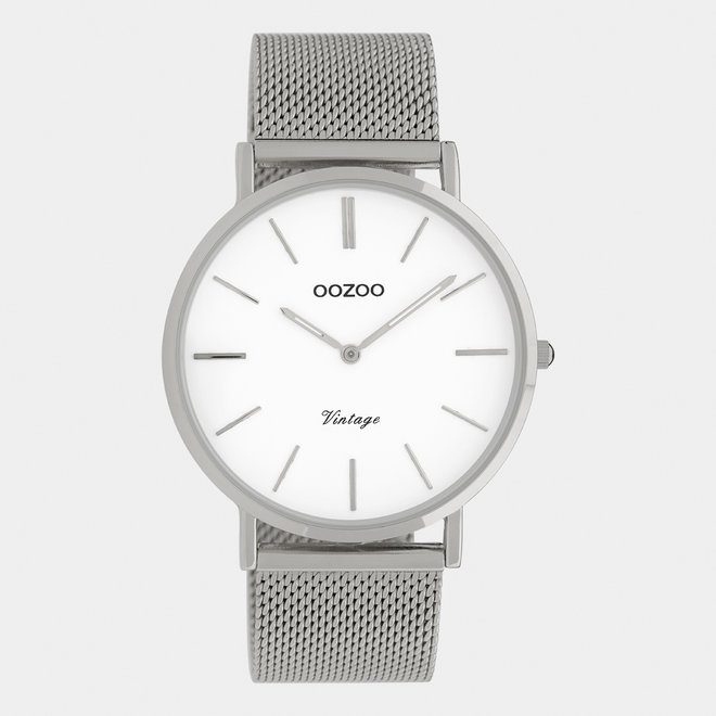 Vintage series - unisex - mesh strap silver  with silver  watch case