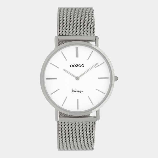 Vintage series - unisex - mesh strap silver  / silver