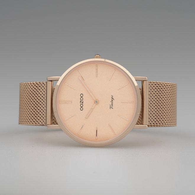 Vintage series - unisex - mesh band rosé goud  met rosé goud  horlogekast