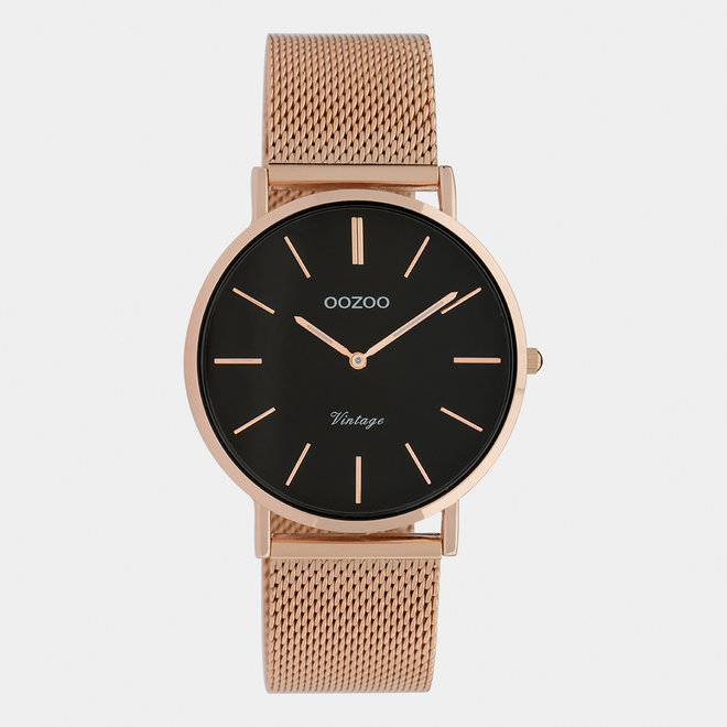 Vintage series - unisex - mesh strap rose gold  with rose gold  watch case