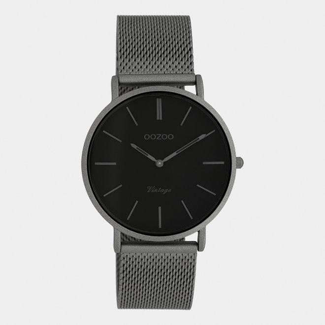Vintage series - unisex - mesh band titanium  met titanium  horlogekast