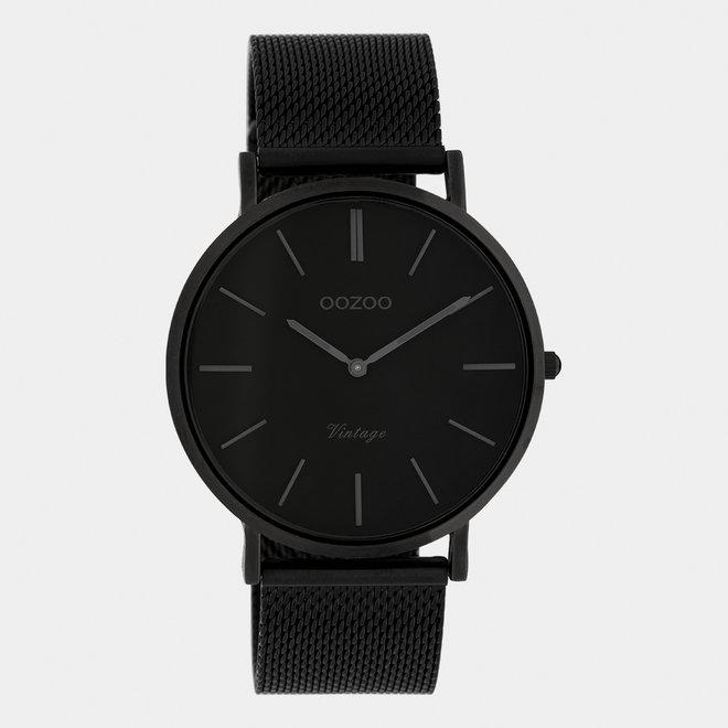 Vintage series - unisex - mesh band zwart  met zwart  horlogekast