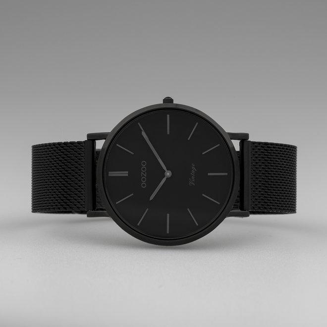 Vintage series - unisexe - bracelet en mesh noir avec noir