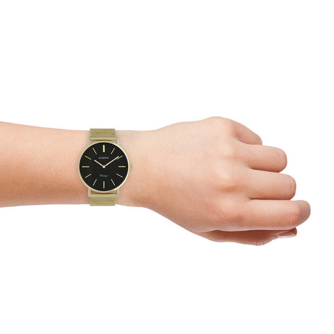 Vintage series - unisex - mesh strap gold  with gold  watch case