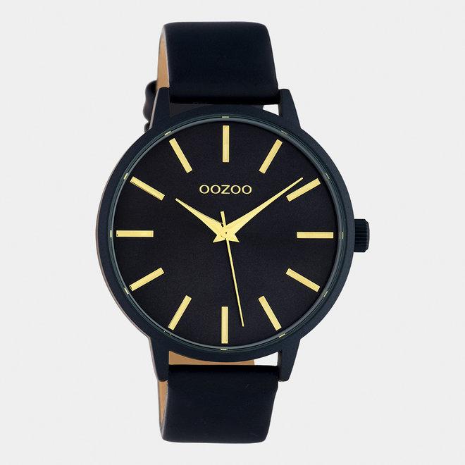 OOZOO Timepieces - dames - leren band zwart / zwart