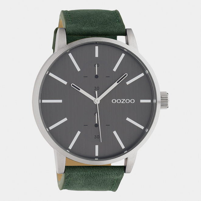 OOZOO Timepieces - gents - leather strap green  / silver