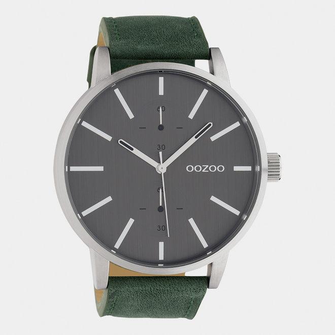 OOZOO Timepieces - heren - leren band groen  / zilver