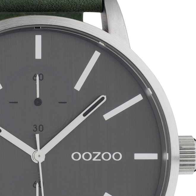 OOZOO Timepieces - gents - leather strap green  with silver  watch case