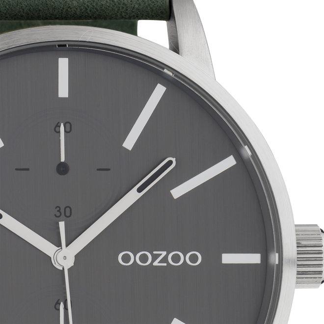 OOZOO Timepieces - hommes - bracelet en cuir vert met argent horlogekast