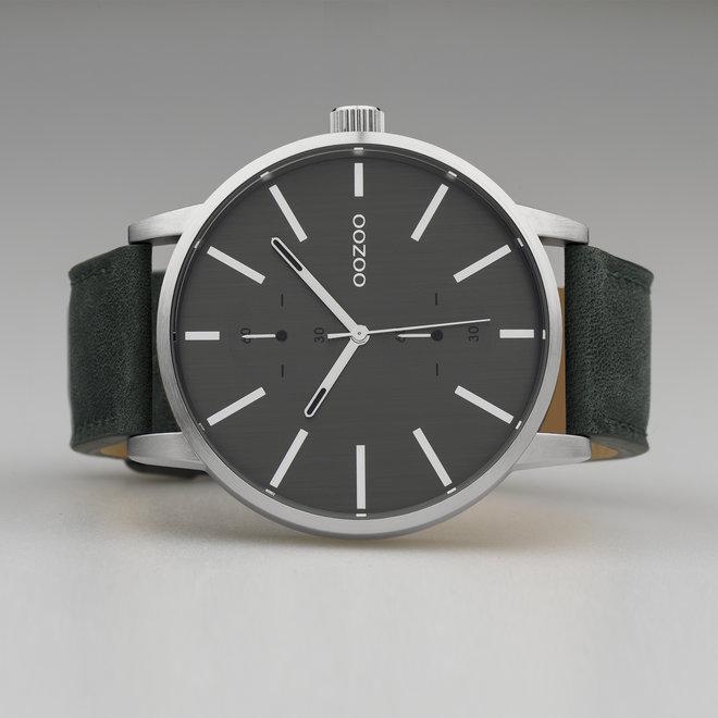 OOZOO Timepieces - heren - leren band groen  met zilver  horlogekast