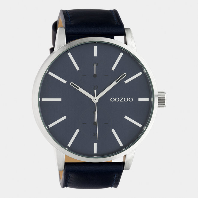 OOZOO Timepieces - gents - leather strap dark blue  / silver