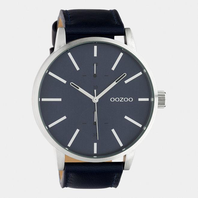 OOZOO Timepieces - heren - leren band donker blauw  / zilver