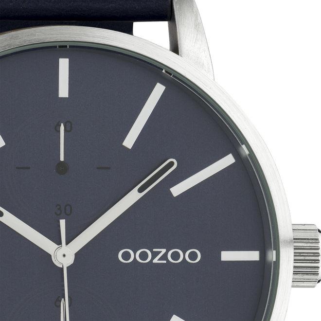 OOZOO Timepieces - hommes - bracelet en cuir bleu foncé met argent horlogekast