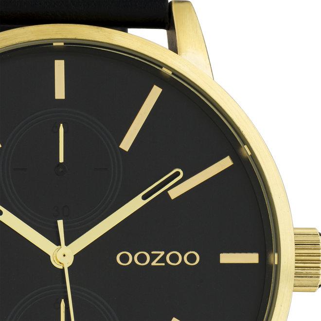 OOZOO Timepieces - hommes - bracelet en cuir noir met or horlogekast
