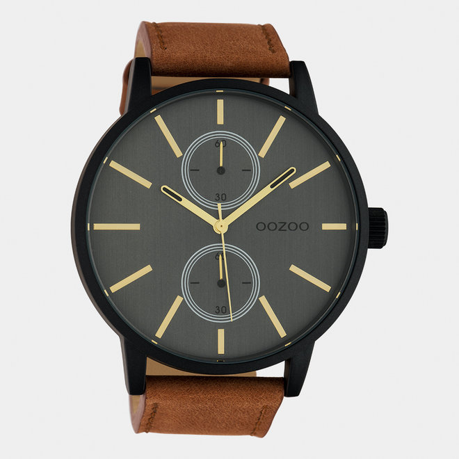 OOZOO Timepieces - gents - leather strap brown  / black