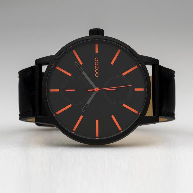 OOZOO Timepieces - heren - leren band zwart  met zwart  horlogekast