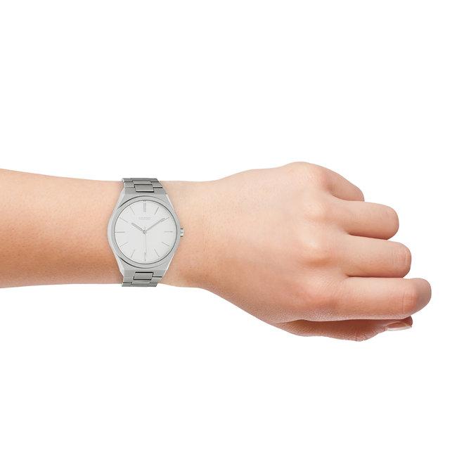 OOZOO Timepieces - unisexe - bracelet en stainless steel argent met argent horlogekast