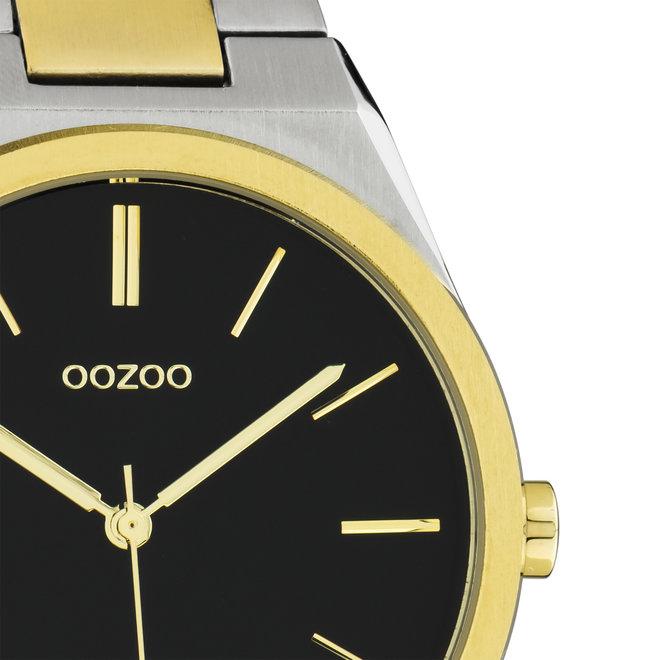 OOZOO Timepieces - unisex  - stainless steel armband zilver-goud met zilver-goud  horlogekast