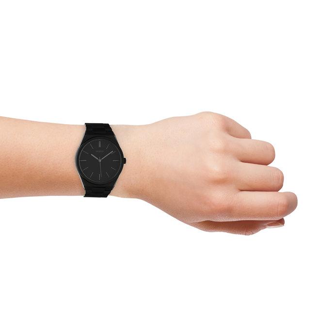 OOZOO Timepieces - unisexe - bracelet en stainless steel noir met noir horlogekast