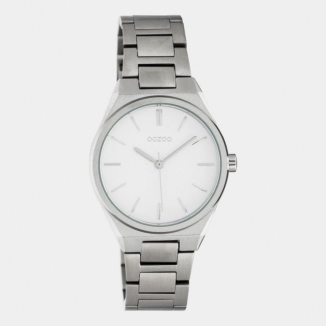 OOZOO Timepieces - unisex  - stainless steel armband zilver  met zilver  horlogekast