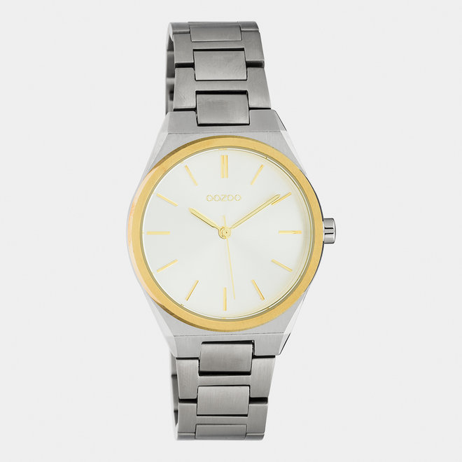 OOZOO Timepieces - unisex  - stainless steel armband zilver  met zilver-goud  horlogekast
