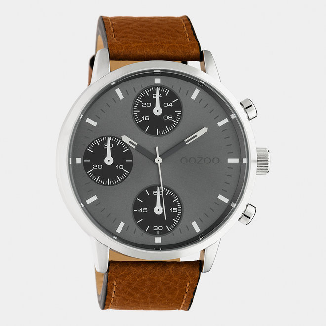 OOZOO Timepieces - gents - leather strap brown  / silver