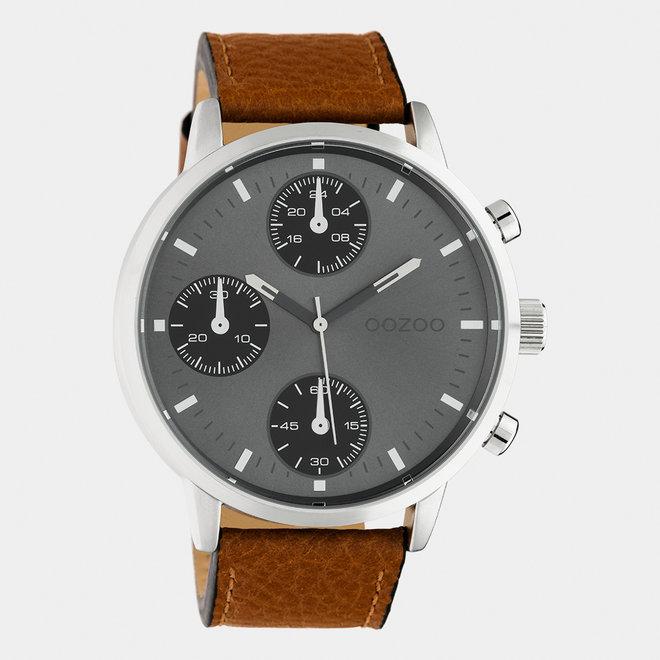 OOZOO Timepieces - heren - leren band bruin  / zilver