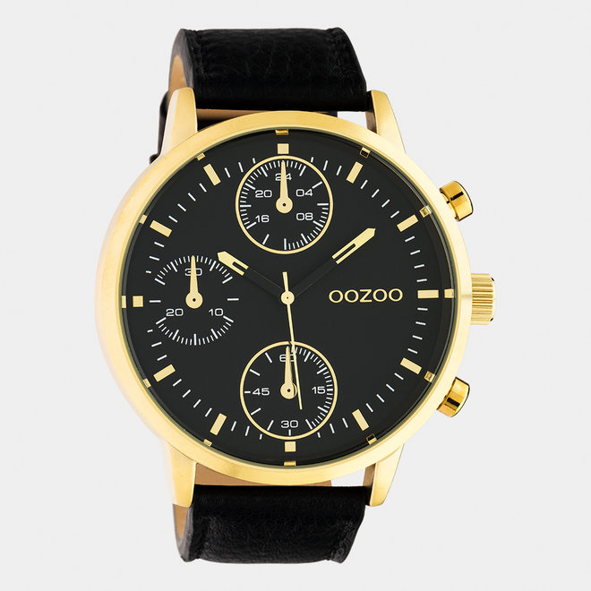 OOZOO Timepieces - gents - leather strap black  / gold