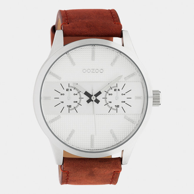 OOZOO Timepieces - hommes - bracelet en cuir cognac / argent