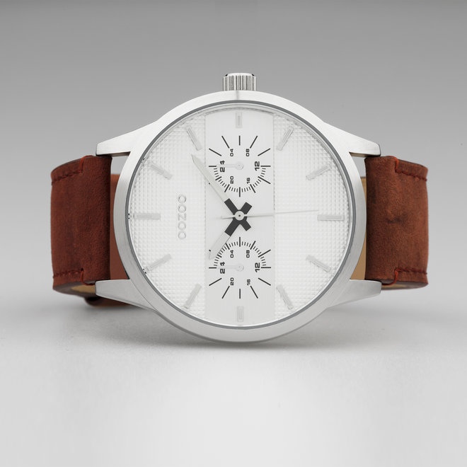 OOZOO Timepieces - gents - leather strap cognac with silver  watch case