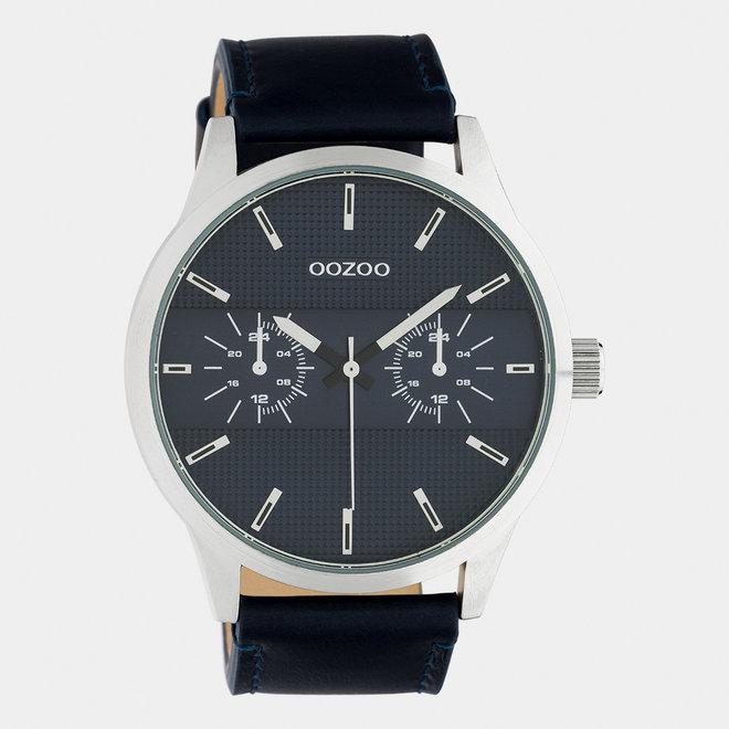 OOZOO Timepieces - hommes - bracelet en cuir bleu foncé / argent