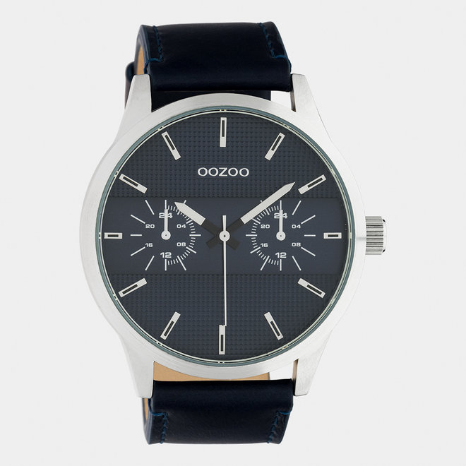 OOZOO Timepieces - gents - leather strap dark blue with silver watch case