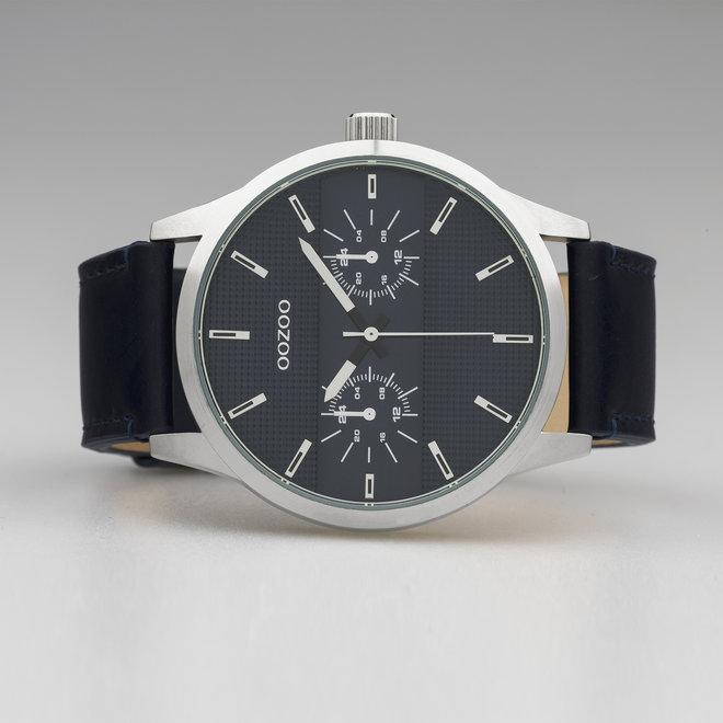 OOZOO Timepieces - heren - leren band donker blauw met zilver horlogekast