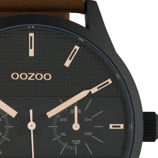 OOZOO Timepieces - hommes - bracelet en cuir marron met noir horlogekast