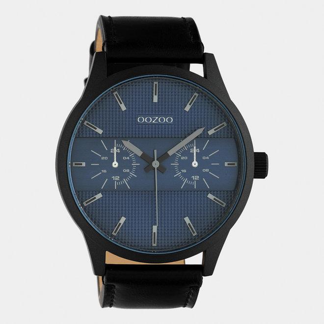 OOZOO Timepieces - heren - leren band zwart / zwart